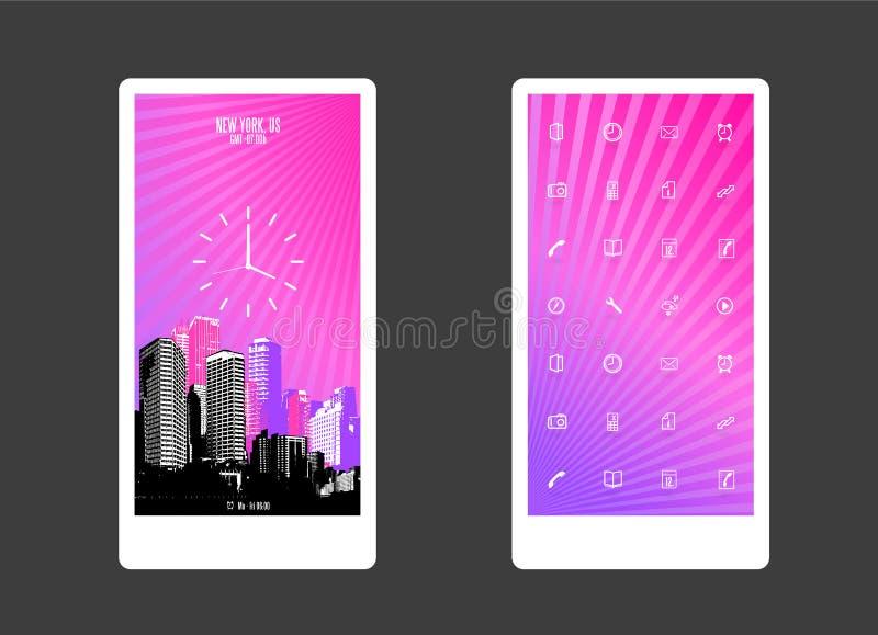 Sottragga il fondo colorato con i grattacieli e le icone di app illustrazione di stock
