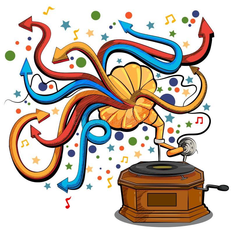 Sottragga il fondo swirly musicale con lo strumento di musica del grammofono illustrazione vettoriale