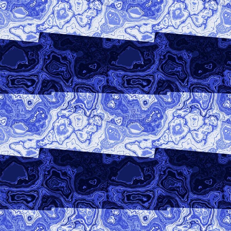 Sottragga il modello marmorizzato delle bande e delle vene blu e blu scuro illustrazione vettoriale