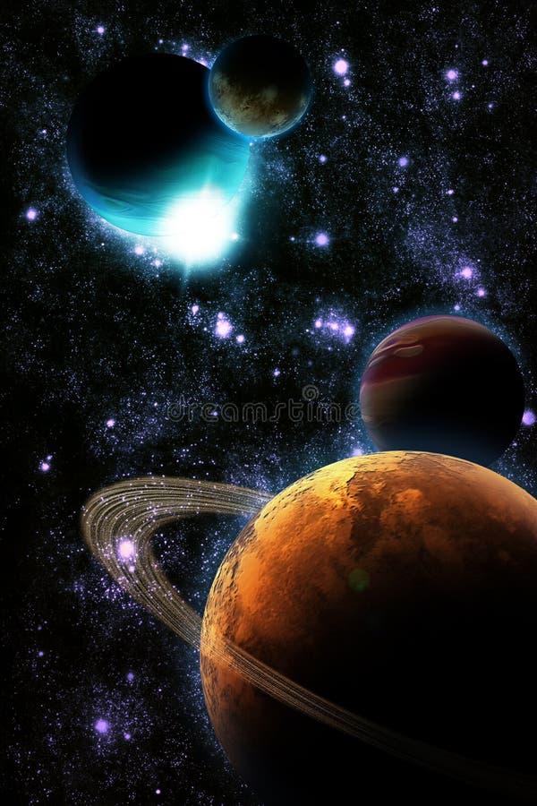 Sottragga il pianeta con il chiarore del sole nello spazio profondo illustrazione di stock