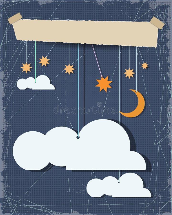 Sottragga il taglio del documento Il fondo del cielo notturno e la nuvola in bianco progettano l'elemento con il posto per il vos illustrazione vettoriale