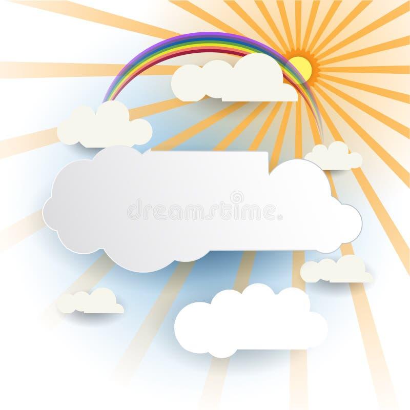 Sottragga il taglio del documento Nuvola bianca con sole su fondo blu-chiaro Elemento in bianco di progettazione della nuvola con illustrazione vettoriale