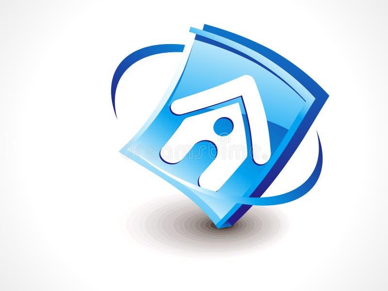 Sottragga il tasto domestico lucido dell'icona illustrazione vettoriale