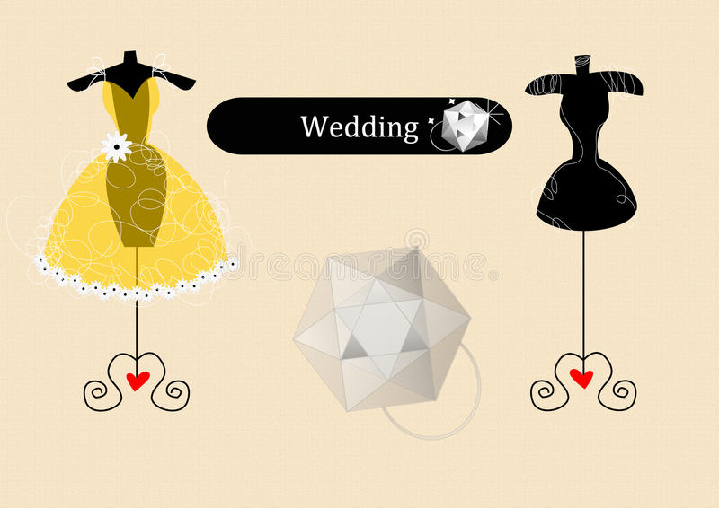 Sottragga il vestito da cerimonia nuziale royalty illustrazione gratis