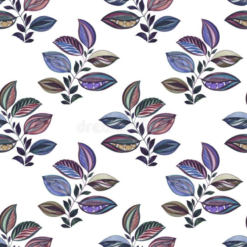 Sottragga l'ornamento Illustrazione variopinta Disegno dell'acquerello delle foglie dei colori differenti Foglie e rami per proge illustrazione di stock