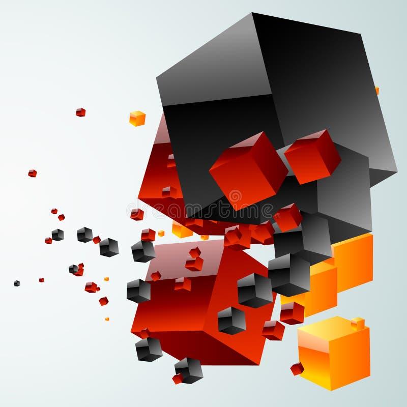 Sottragga la nube dei cubi illustrazione di stock