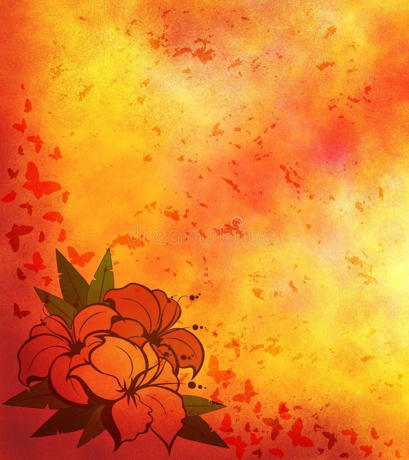 Sottragga la priorità bassa chiara con i fiori illustrazione vettoriale