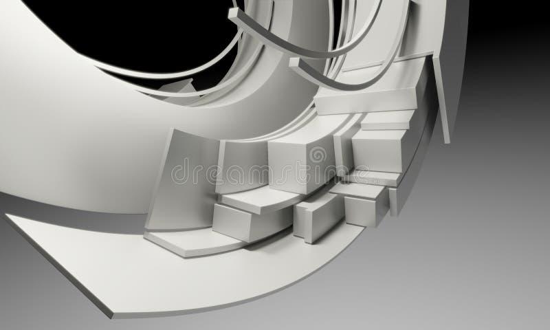 Sottragga la priorità bassa di architettura Oggetti astratti circolari bianchi illustrazione vettoriale