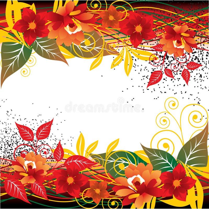 Sottragga la priorità bassa floreale rossa illustrazione vettoriale