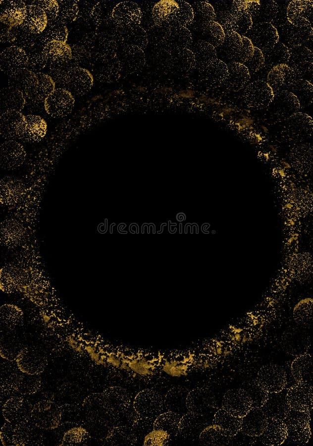 sottragga la priorità bassa Fondo nero con i cerchi dorati Macchie della pittura dell'oro immagini stock