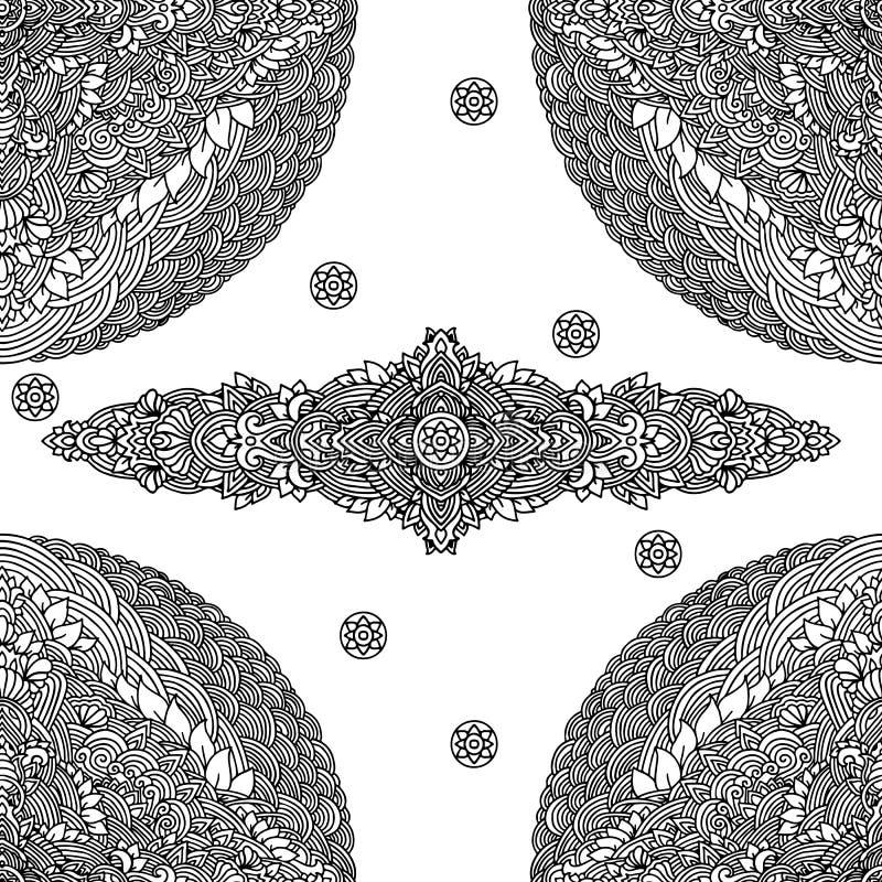 sottragga la priorità bassa Illustrazione di vettore Modello senza cuciture monocromatico della mandala etnica Ornamento indiano illustrazione vettoriale