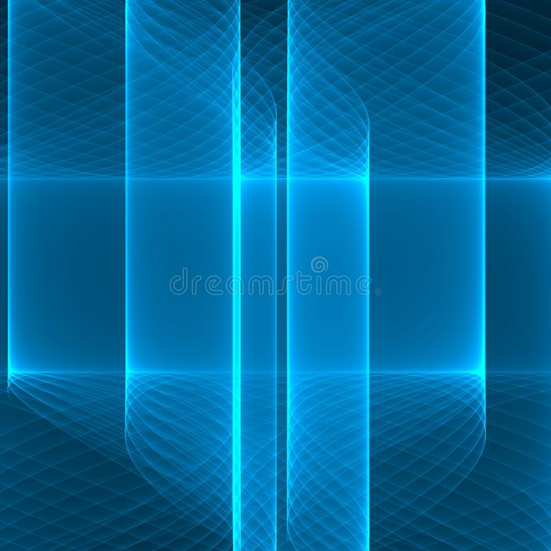 sottragga la priorità bassa Linee blu luminose sui precedenti blu profondi Modello geometrico nei colori blu illustrazione vettoriale
