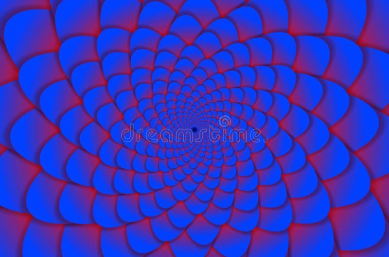 sottragga la priorità bassa Modello di fiore a spirale in rosso ed in blu Fiore di loto astratto Mandala Symbol esoterica royalty illustrazione gratis