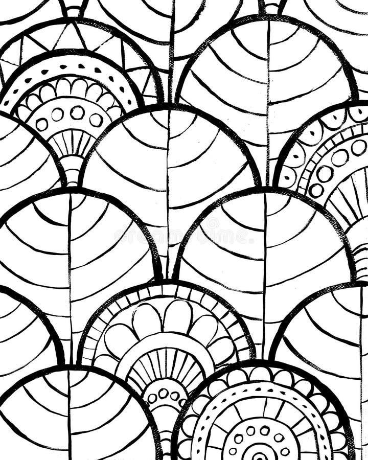 sottragga la priorit? bassa Progettazione decorativa disegnata a mano nera su fondo bianco Progettazione decorativa per gli inter illustrazione vettoriale