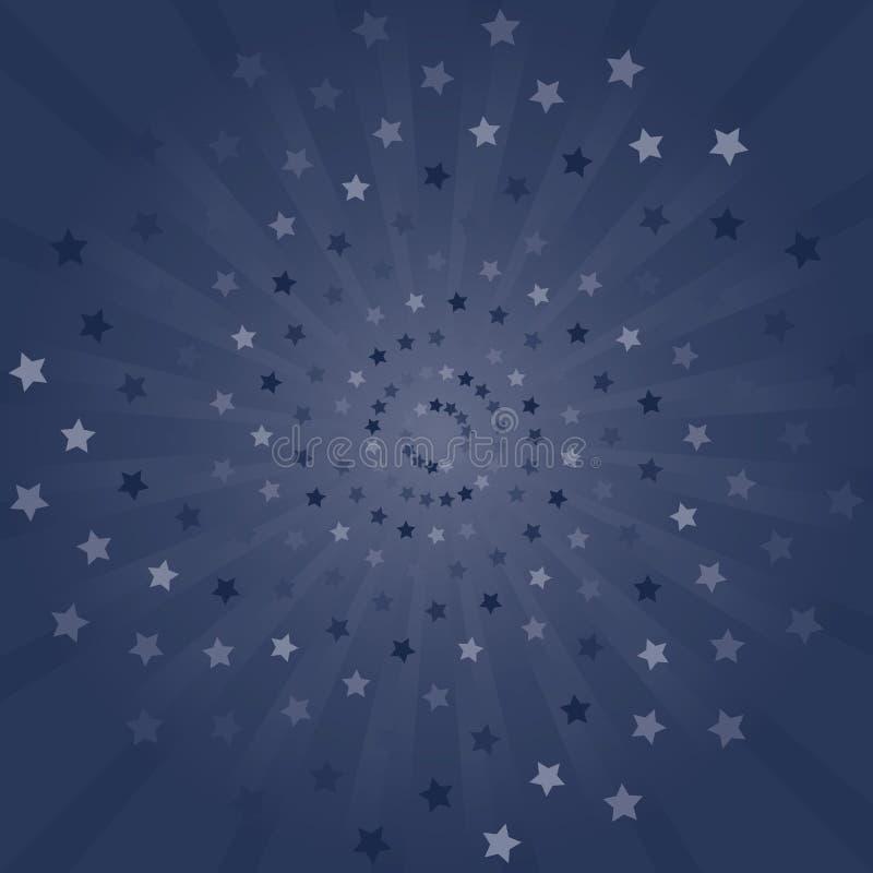 sottragga la priorit? bassa Raggi e fondo porpora blu scuro delle stelle Vettore immagine stock libera da diritti