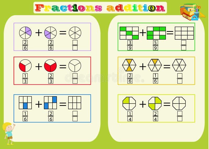 Sottrazione del foglio di lavoro matematico delle frazioni triangoli Pagina del libro da colorare Puzzle di per la matematica Gio illustrazione di stock