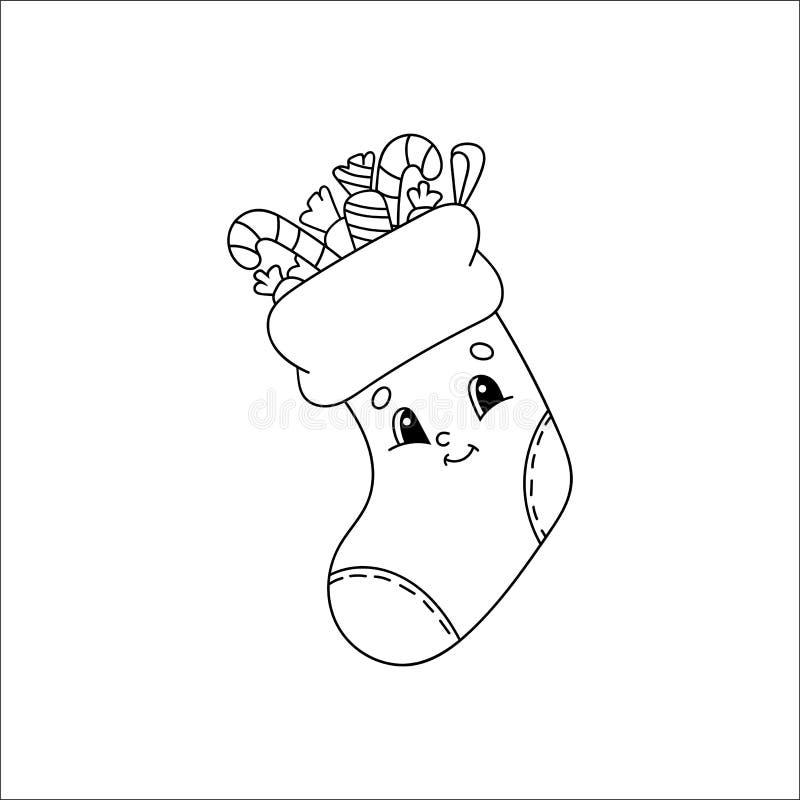 Souche de Noël avec cadeaux Livre de coloriage pour enfants Personnage gai Illustration vectorielle Belle bande dessinée Fantasy  illustration de vecteur