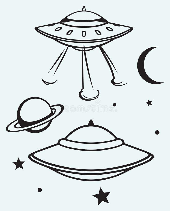 Soucoupe volante en espace illustration stock