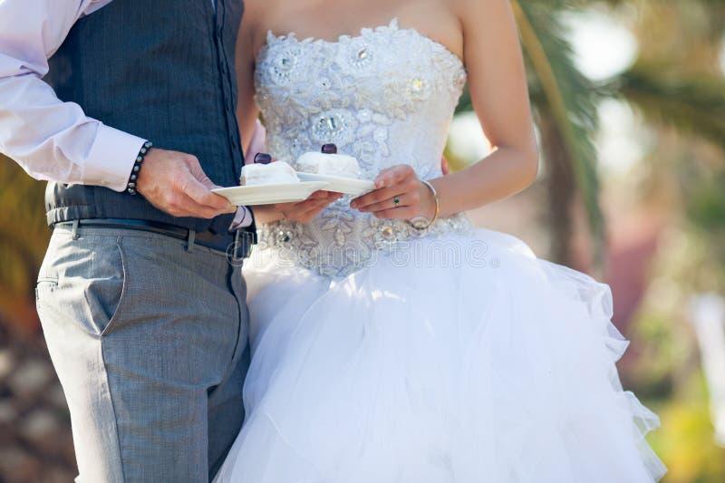 Soucoupes en prise de nouveaux mariés avec un gâteau de mariage images libres de droits