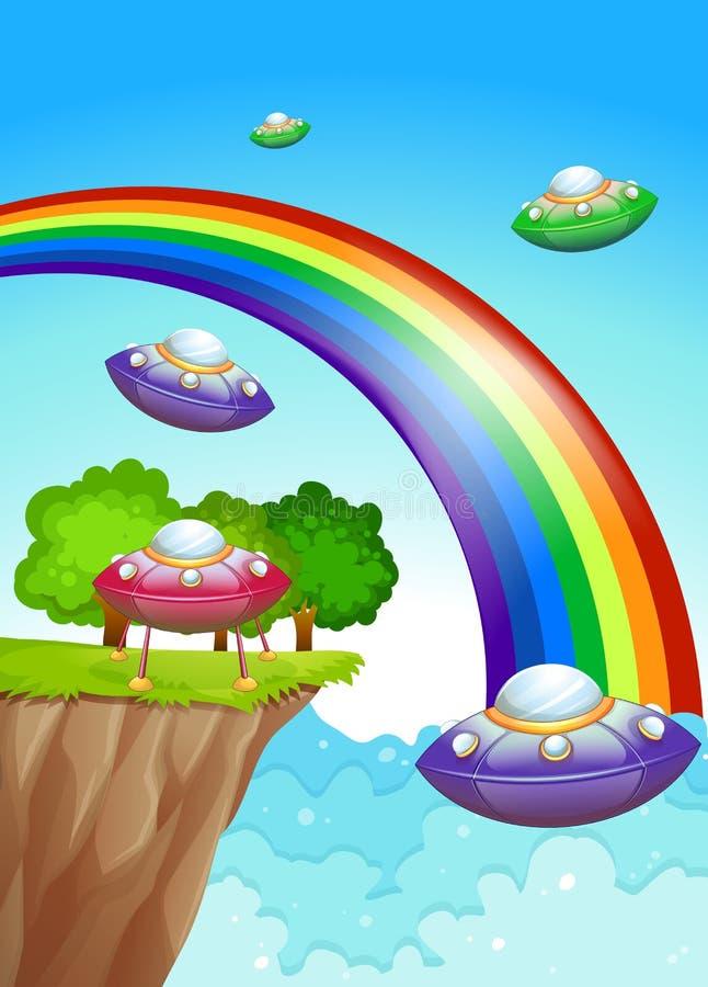 Soucoupes volantes dans le ciel près de l'arc-en-ciel illustration stock
