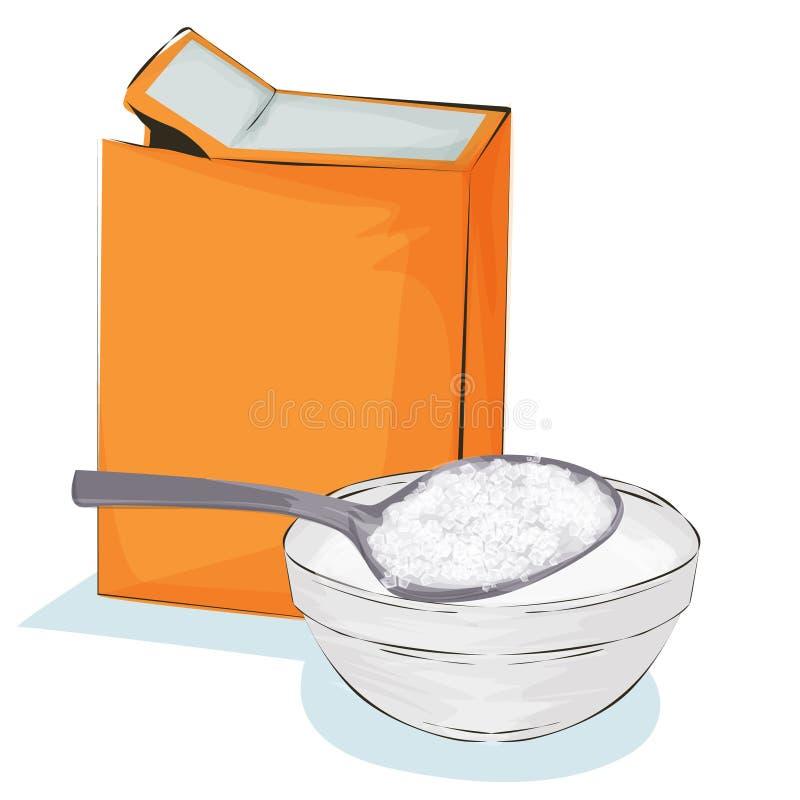 Soude dans un sac de papier de métier et cuillère, illustration de cuisson d'ingrédient sur un fond blanc illustration libre de droits
