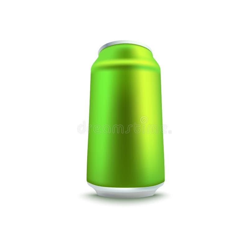 Soude de vert de blanc ou maquette en aluminium de canette de bière dans le style 3d réaliste illustration libre de droits
