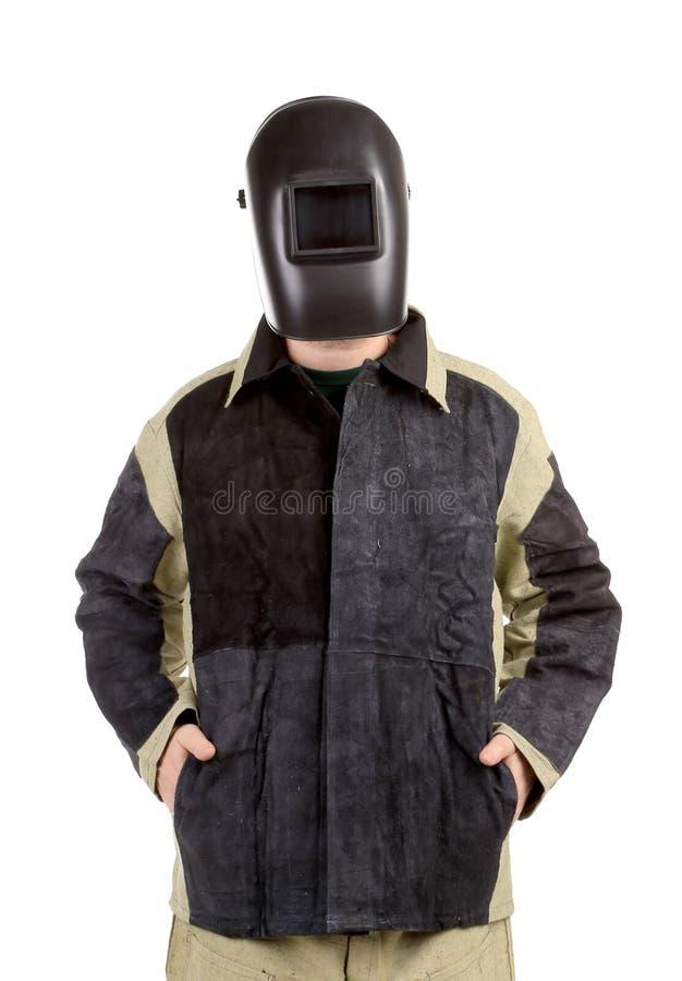 Soudeur sûr dans le masque. photographie stock libre de droits