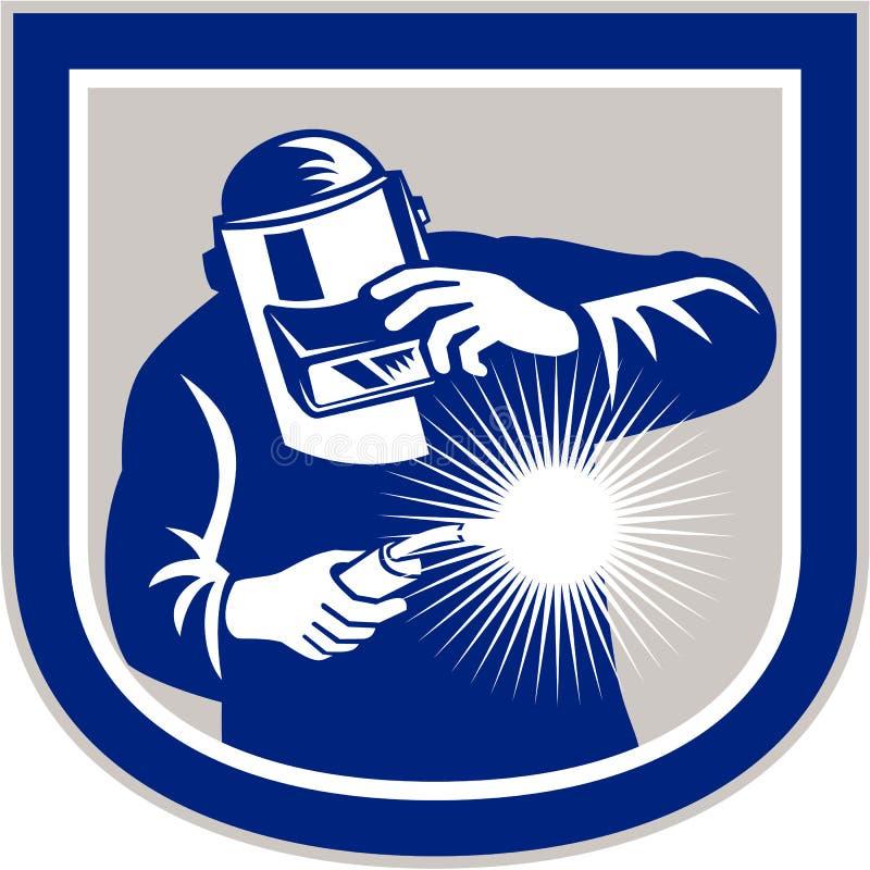 Soudeur Welding Torch Front Shield Retro illustration de vecteur