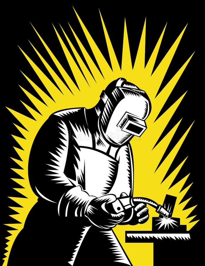 Soudeuse au travail illustration libre de droits