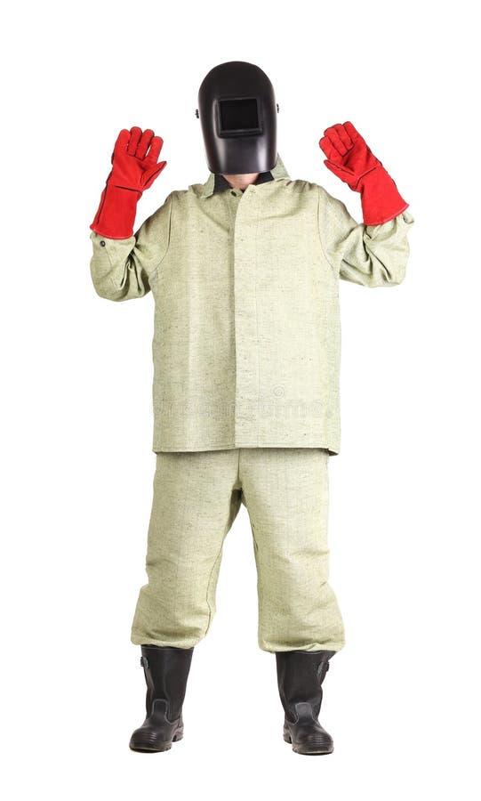 Soudeuse dans les gants rouges image stock