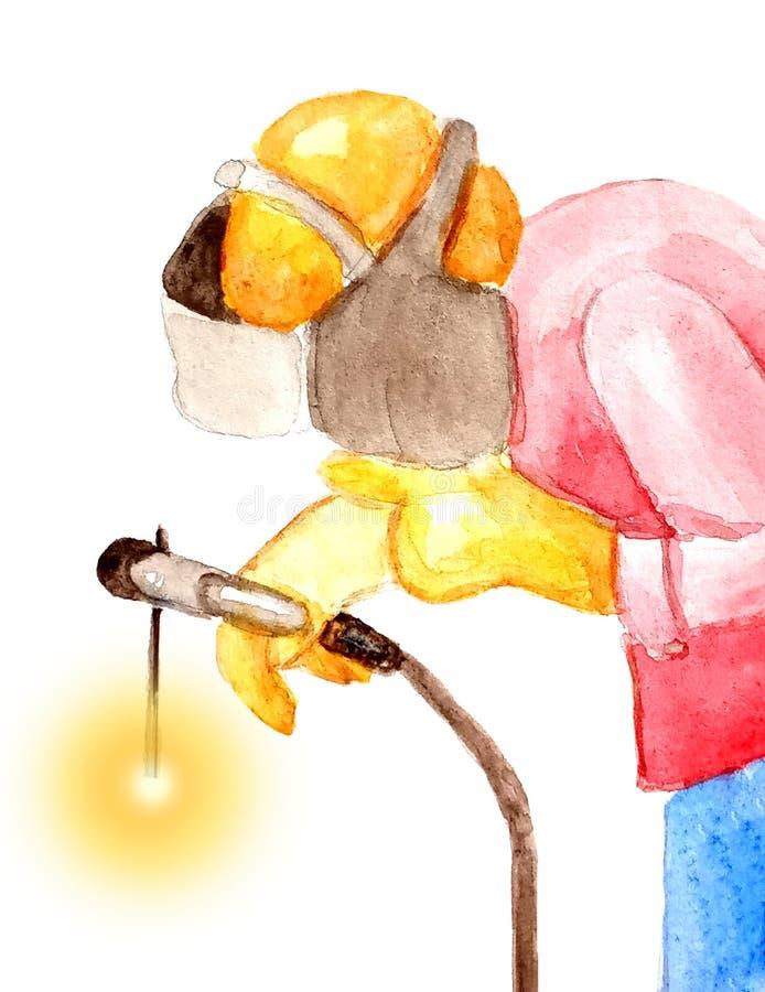 Soudeuse masculine de portrait soudant dans un casque de protection sur un fond blanc illustration stock