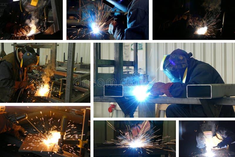 Soudure de travailleurs en acier photographie stock