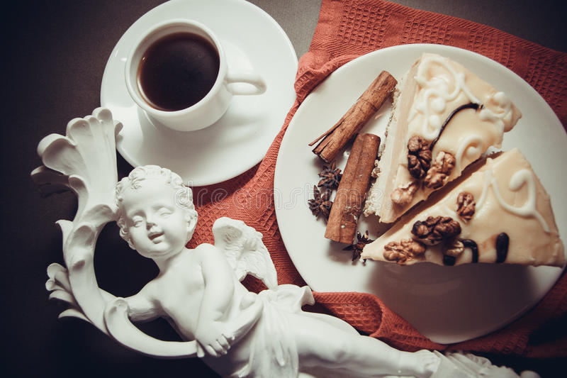 Soufflè e caffè di mattina fotografie stock