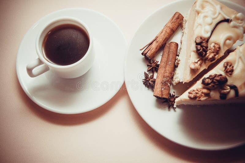 Soufflè e caffè di mattina fotografia stock