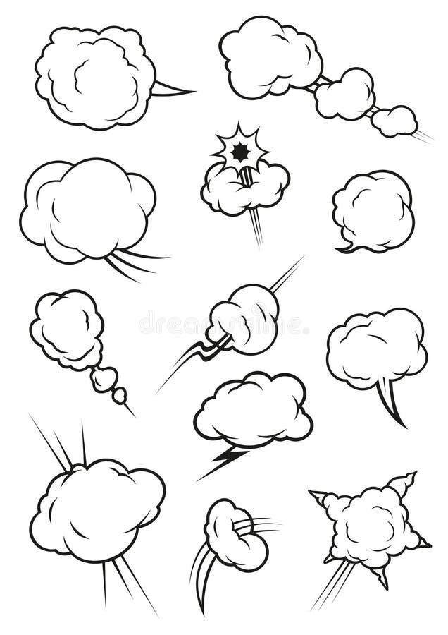Soufflant, explosion, cuisant des icônes à la vapeur de bande dessinée de nuage illustration de vecteur