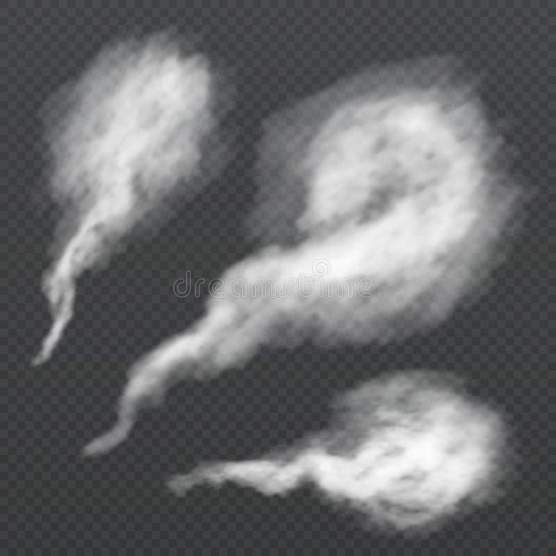 Souffle blanc de fumée, traînée de vapeur Écoulement de vapeur de vecteur d'isolement sur le fond transparent illustration stock