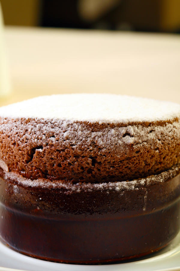 Souffle with chocolate stock photos