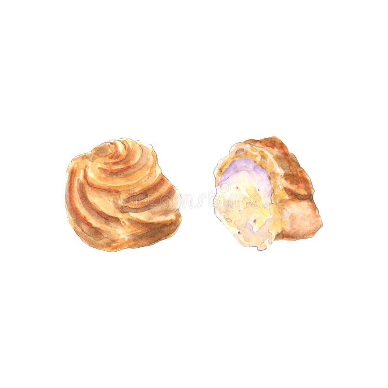 Souffle de crème d'aquarelle illustration de vecteur