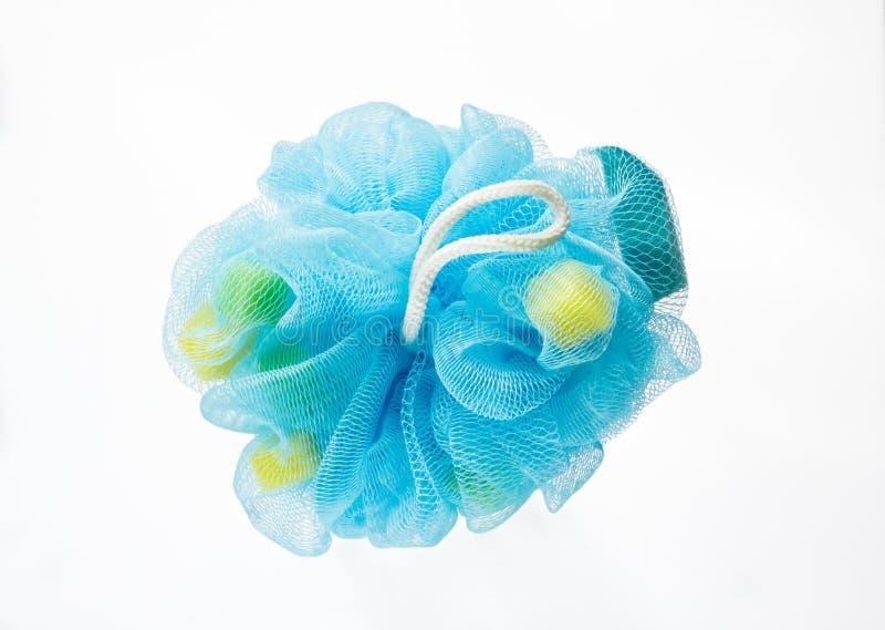 Souffle ou éponge bleu mol de bain images libres de droits