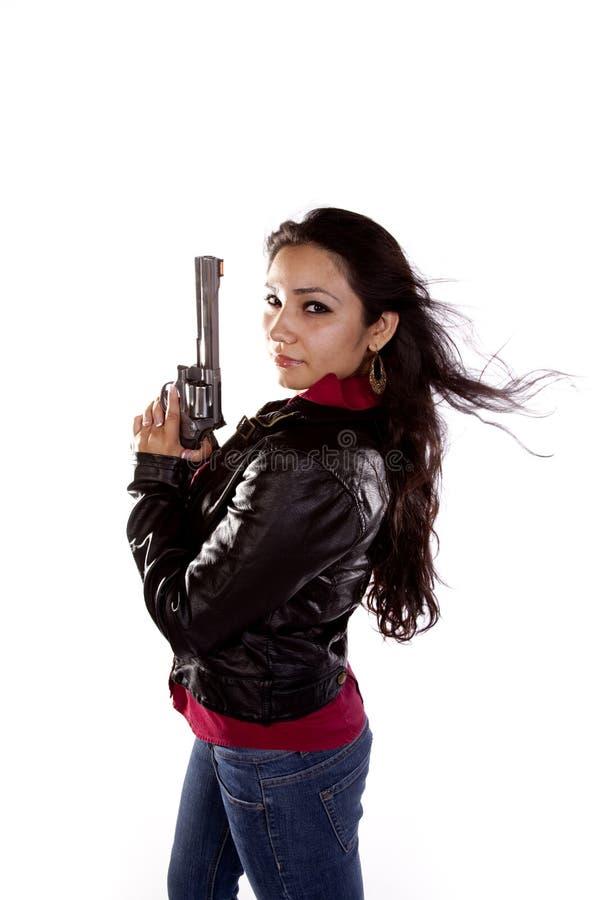 Soufflement de cheveu de canon de femme photos libres de droits