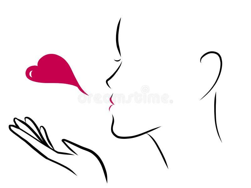 Soufflez un baiser de coeur illustration libre de droits