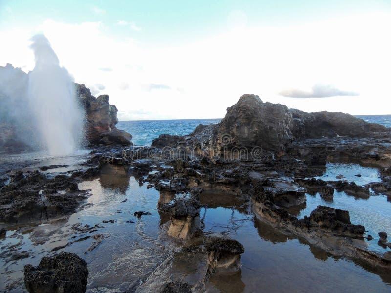 Soufflure de Nakalele avec de l'eau pulvérisant qui a été créé des ressacs Pacifiques frappant le littoral rocheux grand de falai images stock