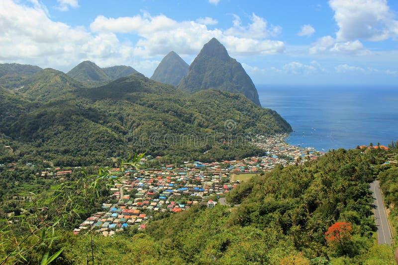 Soufriere-Ansicht, St Lucia, karibisch stockbilder
