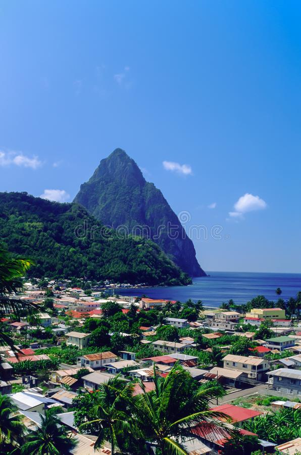 View over Soufriere looking towards the Pitons in St Lucia royalty free stock photography