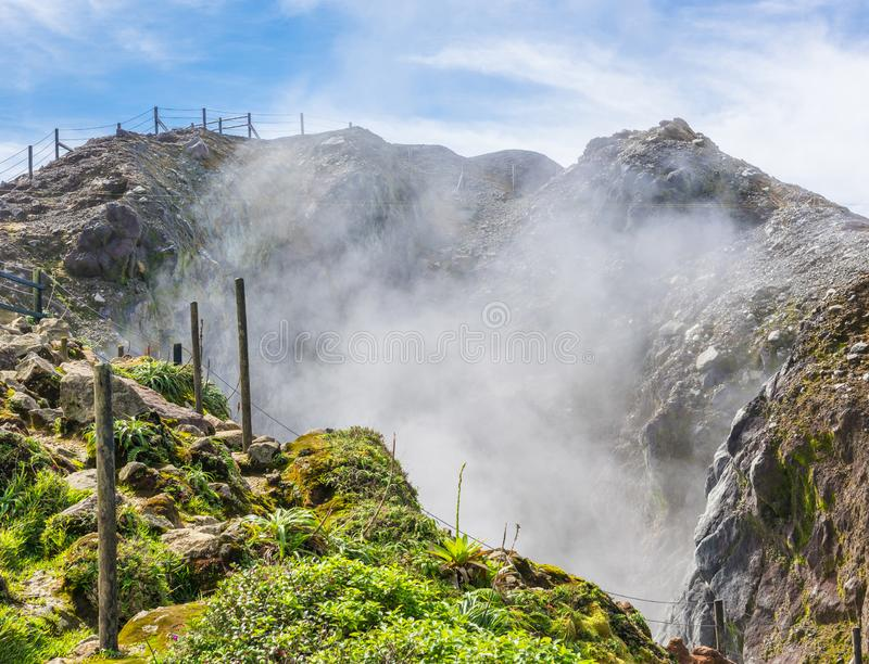 Soufriere volcano in Guadeloupe stock images