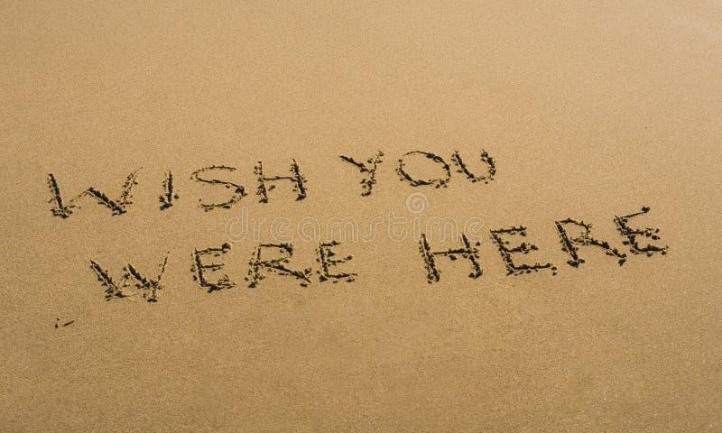 Souhait vous avez été ici écrit en sable images libres de droits