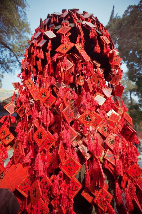 Souhaitez les cartes dans un temple bouddhiste dans Pékin photos libres de droits