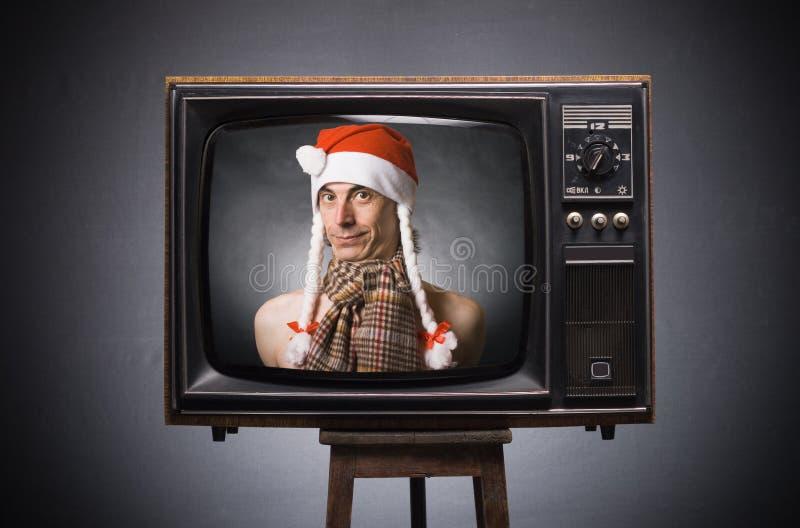 Souhaits du père noël de rétro TV. image stock