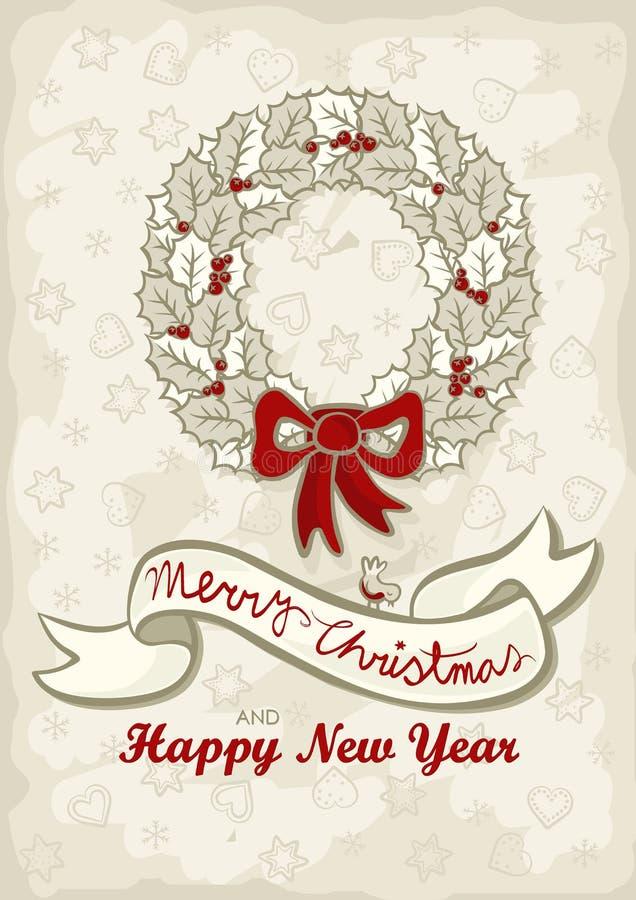 Souhaits légers de l'anglais de Noël de guirlande de feuilles de houx illustration libre de droits