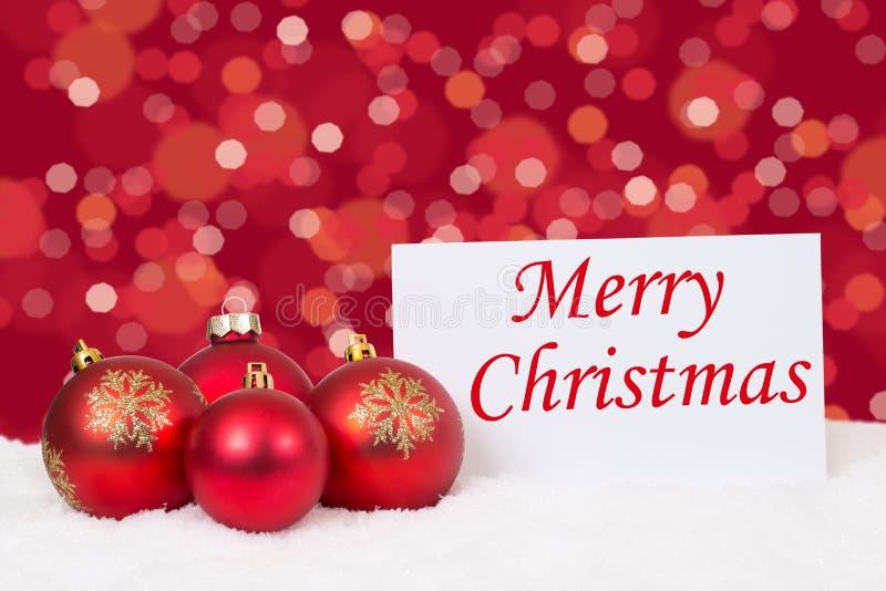Download Souhaits Rouges De Carte De Boules De Joyeux Noël Photo stock - Image du carte, ornemental: 77162900